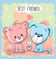 cute cat and dog vector image