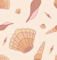 Seamless pattern with hand drawn shells vector image