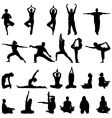 yoga and meditation silhouettes vector image