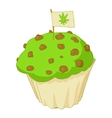 Muffin with marijuana icon cartoon style vector image