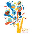 Jazz Music Instruments Saxophone with Icons vector image