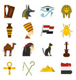 egypt travel items icons set in flat style vector image