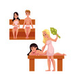 people relaxing in wooden steam sauna doing besom vector image