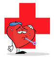 Sick heart cartoon vector image