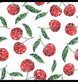 Seamless red cherry background vector image vector image