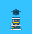 Flat icons of graduation cap and heap textbooks vector image