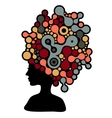 Beautiful woman silhouette with strange hair dress vector image