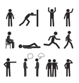 Man posture pictogram icons set Human body action vector image
