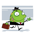 Green Monster With A Suitcase Goes To Work vector image vector image