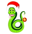 Snake in the hat of Santa Claus vector image