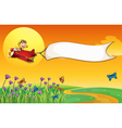 An empty banner carried by the red airplane vector image