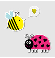Cute cartoon bee and lady bug Card vector image
