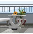 Interior balcony table with fruit papaya and vector image