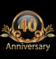 40 years anniversary birthday in gold vector image