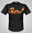 t shirts Black Fire Print man 11 vector image