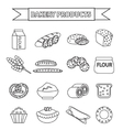Bakery products icon set line outline doodle vector image
