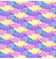 Blue pink yellow and violet cartoon style clouds vector image