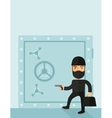 Man in black hacking bank safe vector image
