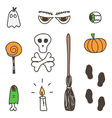 Set of cute colorful halloween doodles vector image