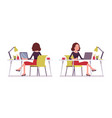 set of young secretary in sitting pose rear vector image