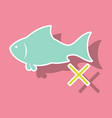 sticker fish drawing seafood great for menu vector image