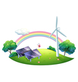 A solar energy and a windmill vector image vector image