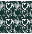 Seamless hand drawn heart pattern vector image