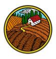 rural landscape in circle vector image