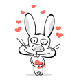 Funny bunny with hearts vector image vector image