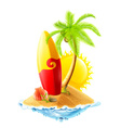 Surfboard and tropical island vector image vector image