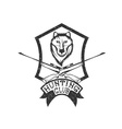 grunge hunting club crest with carbines and wolf vector image