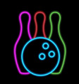 bowling ball and skittles neon lights vector image