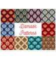 damask floral baroque samless patterns set vector image