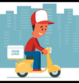 Delivery Man Riding Scooter vector image