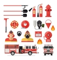 Firefighter Isolated Colored Icon Set vector image