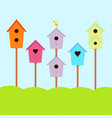 Nesting box with bird vector image
