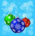 three christmas balls with different patterns vector image