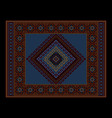 vintage ethnic dark burgundy carpet with blue vector image