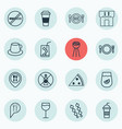 set of 16 food icons includes lemon juice grill vector image