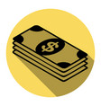 bank note dollar sign  flat black icon vector image