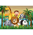 A group of animals at the riverbank with coconut vector image