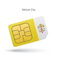 Vatican City mobile phone sim card with flag vector image