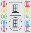 Door icon sign symbol on the Round and square vector image vector image