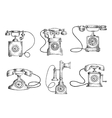 Rotary dial and candlestick phones sketches vector image vector image