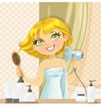 Cute blond girl dries her hair hairdryer in the vector image