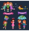 kids playing greeting card vector image