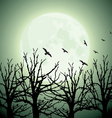 big moon trees and birds vector image