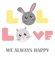 babys fashion with rabbit and a cat head vector image