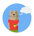 cute cartoon hand drawn cat with cup of coffee and vector image