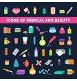 flat icons for medicine and beauty vector image